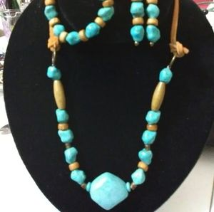 Turquoise and leather jewelry set